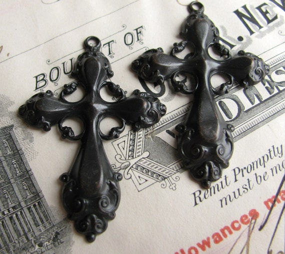ONE CROSS - last one - Rococo cross rosary pendant - 48mm - antiqued black brass - light weight stamping (2 black crosses)