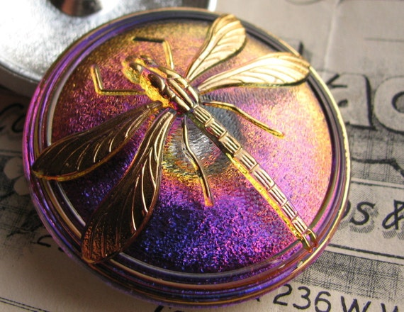 40mm purple, fuchsia dragonfly Czech glass button - hand painted, hand forged - Bohemian glass