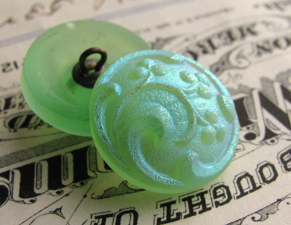Frosted mint green berries Czech glass buttons - ONE LEFT - 18mm (1 button) hand forged