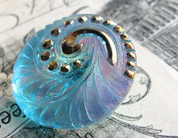 27mm aqua blue spiral chambered nautilus Czech glass button - hand painted, hand forged