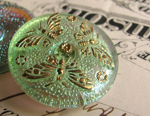 27mm chartreuse green butterfly Czech glass button - hand painted, hand forged - iridescent foiled back