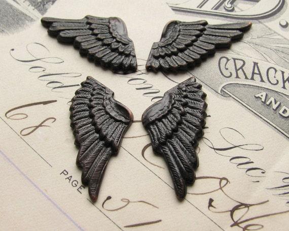 Cupid mini angel wings - black antiqued brass 25mm (4 angel wings) small cherub wing, pair of angel wings