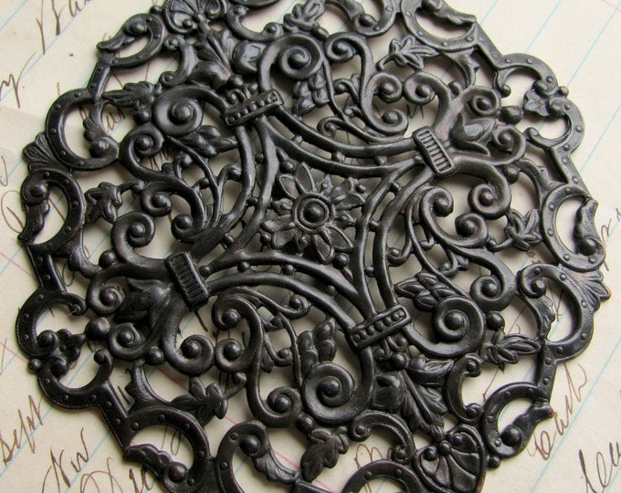 "Large round filigree ""The Queen"" antiqued black brass, 82mm, flat brass stamping, black brass filigree ornament, huge big"