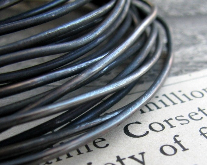 16 gauge  black hand antiqued wire, dead soft (5 feet) (1.53 meters) 16ga 16g dark blackened oxidized copper wire, rustic coiled crafting