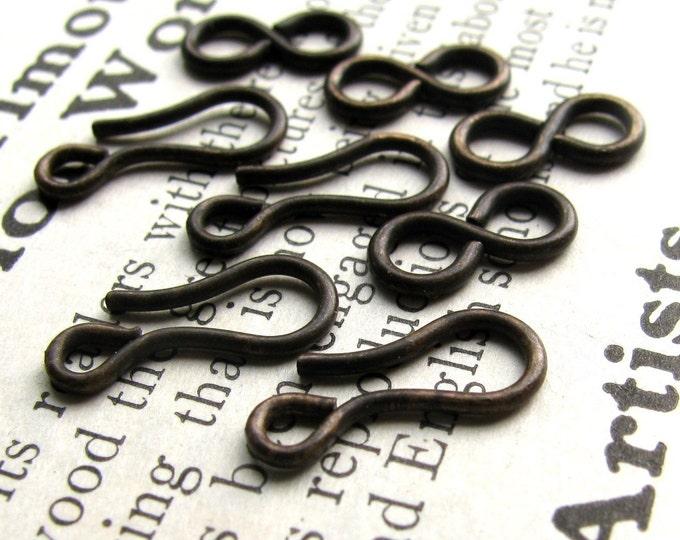 Medium hook and eye set - 14mm hook and 11mm figure eight eye - dark antiqued brass - (4 sets) aged black patina