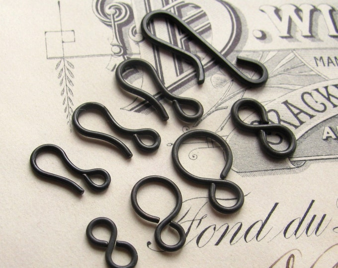 Sampler - hook and eye sets -  dark antiqued brass (4 sets) aged black patina, clasps, black brass hooks