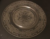 Stippled Rose Depression Glass Plate - Crystal Clear