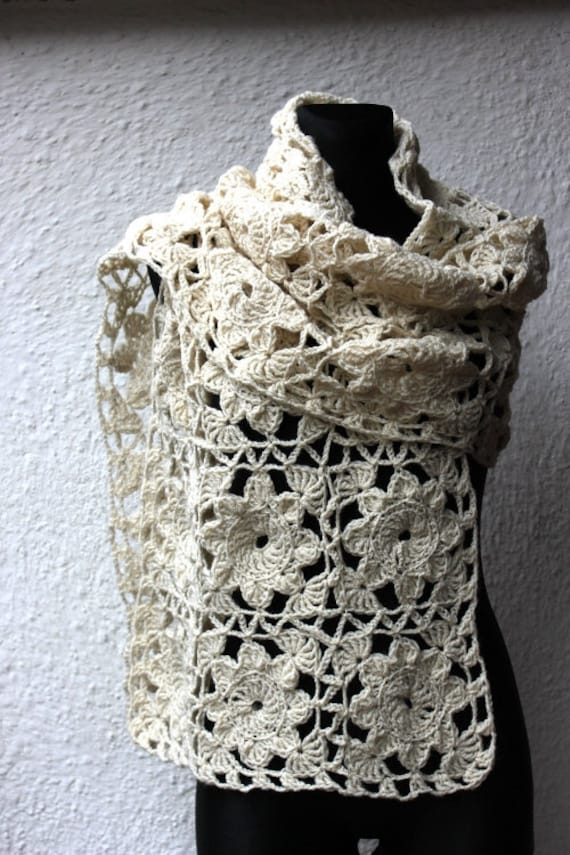 Ivory crochet shawl, crochet flowers shawl, hand made shawl,  bridal shawl, shawl ready to ship, gift for her.