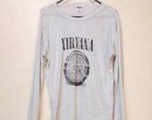 Super THIN SHEER Grey Hand Screenprinted Nirvana Shirt