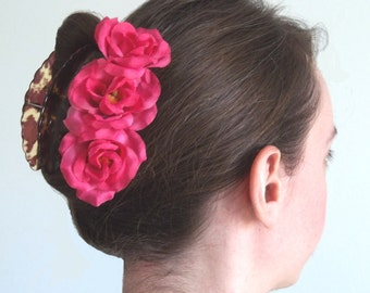 Rosy Pink Roses bobby pins - Set of 3