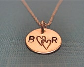 Double the Love- 1/2 inch hand stamped intials and hearts on 16 inch sterling silver chain necklace