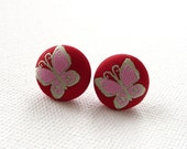 ns-Red, Pink, and Green Butterfly Printed Fabric Covered Round Stud Earrings