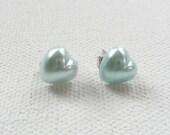CLEARANCE - Mini Mint Green Heart Stud Earrings