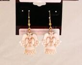 Ivory an Gold Angel Dangle Earrings