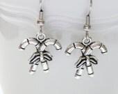 Silver Double Candy Cane Dangle Earrings