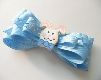 Blue Easter Bunny Hair Bow