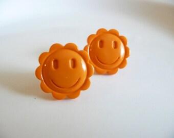 Orange Smiley Face Flower Stud Earrings