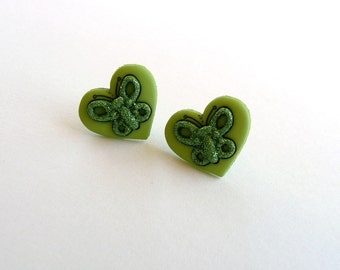 ns-Green Hearts Embellished with Sparkley Butterfly Stud Earrings