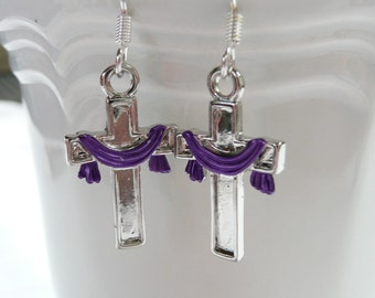 nd-Silver (color) Cross with Purple Scarf Dangle Earrings