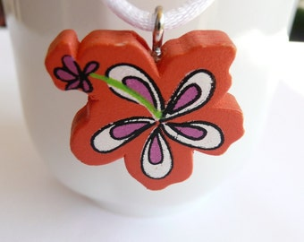 nnc-CLEARANCE - Orange Tropical Flower Necklace