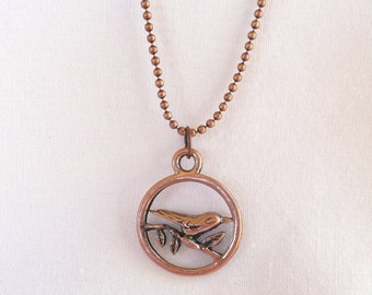nnm-Antique Copper Bird on a Branch Necklace