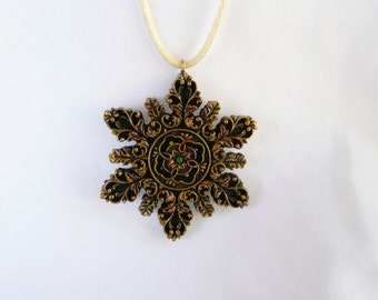 Intricately Detailed Antique Gold Ornament Necklace