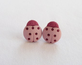 ns-CLEARANCE - Two Tone Pink Ladybug Stud Earrings