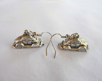 nd-3D Silver Plated Retro Car Dangle Earrings