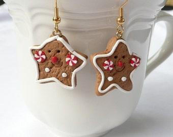 hd-Christmas Cookie 5 Point Star Dangle Earrings