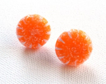 hs-Orange Sparkly Hard Candy Stud Earrings