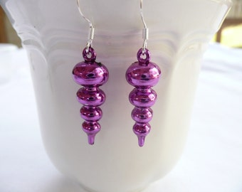 hd-Metallic Purple Swirl Dangle Earrings