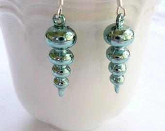 Metallic Blue Swirl Dangle Earrings