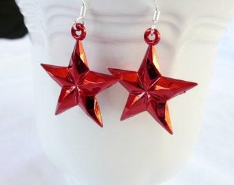 hd-Red Star Dangle Earrings