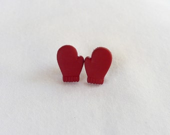 hs-Mini Red Mittens Stud Earrings