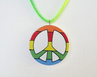 Rainbow Colored Peace Sign Necklace