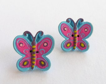 ns-Blue and Pink  Butterfly Stud Earrings