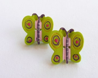 ns-Green, Purple, and Pink  Butterfly Stud Earrings