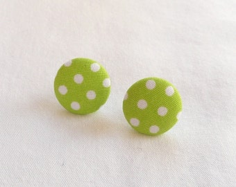 ns-CLEARANCE - Lime Green Dotted Fabric Covered Round Stud Earrings