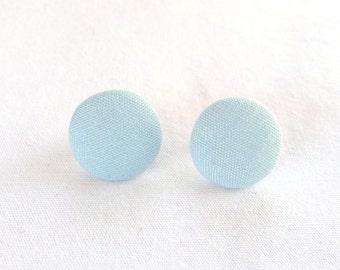 ns-CLEARANCE - Light Blue Fabric Round Brad Stud Earrings