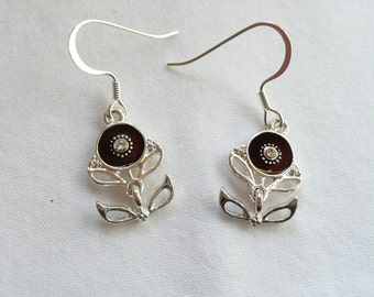 Brown Flower with Crystal Center Dangle Earrings