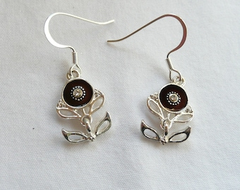 nd-Brown Flower with Crystal Center Dangle Earrings