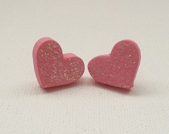 CLEARANCE - Sparkly Pink Heart Stud Earrings
