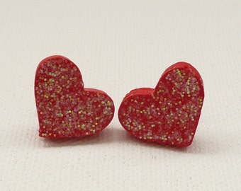 CLEARANCE - Sparkly Red Heart Stud Earrings