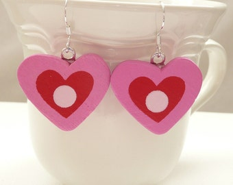 nd-CLEARANCE - Pink and Red Heart Dangle Earrings