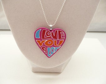 Groovy I Love You Heart on a Silver Plated Chain
