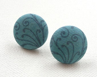 ns-Large Blue on Blue Print Fabric Covered Round Stud Earrings