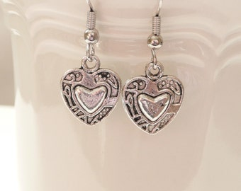Double Sided Heart Dangle Earrings