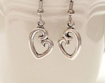 nd-Open Double Sided Heart Dangle Earrings