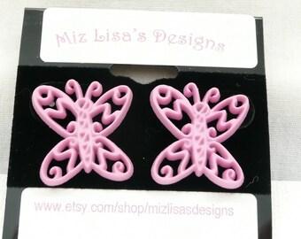 Pink Filigree Butterfly Stud Earrings