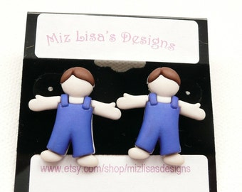ns-Little Boy in a Blue Overalls Stud Earrings